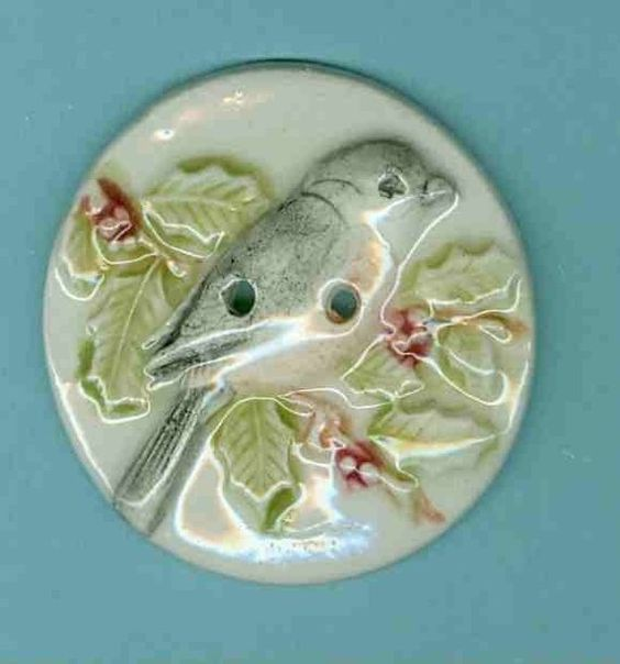 New Style...Large Round Chicadee Button...Uniquebuttons