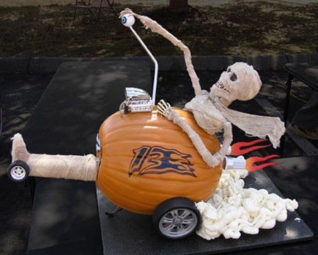 Add some racing flare to your Halloween decorations with this mummy dragster!