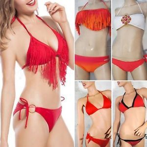 Solid Red Sexy Women's Bikini Bandeau Beach Summer Ruched Padded String 2 PC USA   eBay