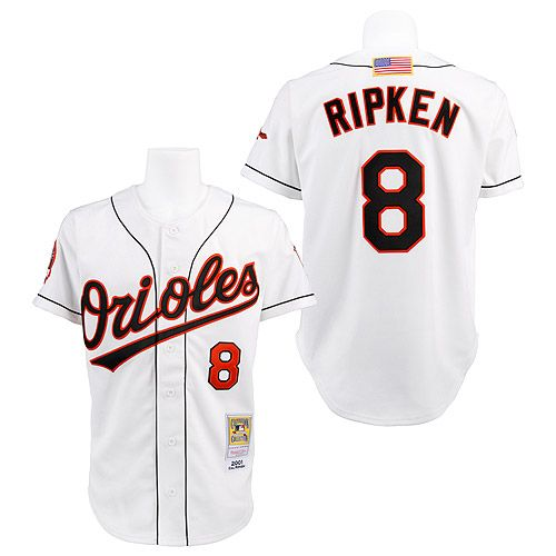 1384cbbf488 ... hot 8 cal ripken replica white throwback mlb jersey baltimore orioles  authentic 2001 cal ripken jr