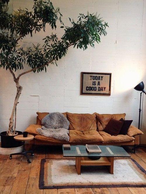 inspiratie grote planten in de woonkamer elle