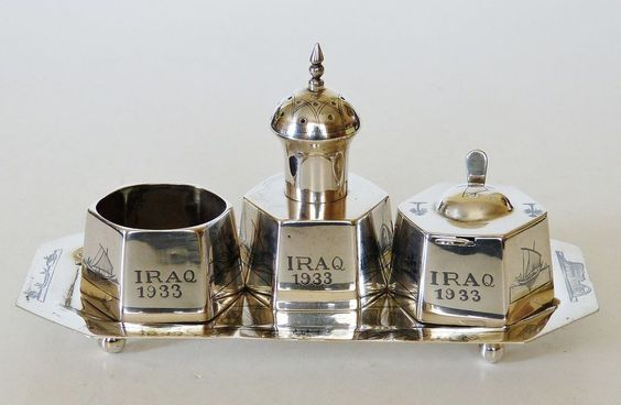 RARE 1933 IRAQI SOLID SILVER CONDIMENT CRUET SET TRAY NIELLO ISLAMIC TEMPLE 222g