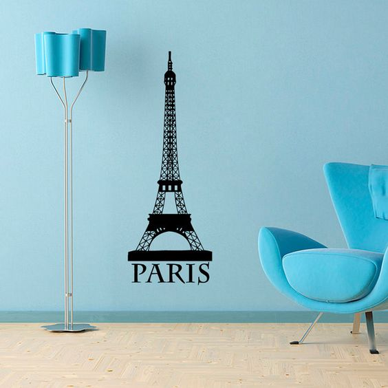 Add a touch of excitement to your wall decor with this abstract vinyl wall decal. This easy-to-apply decal features the Eiffel Tower with the city name 'Paris' below it.