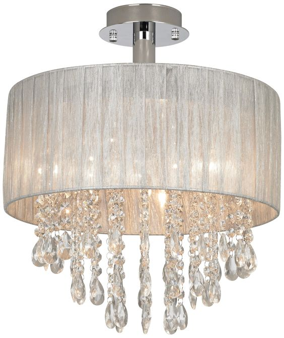 Possini Silver and Crystal Semi-Flushmount Ceiling Light | LampsPlus.com