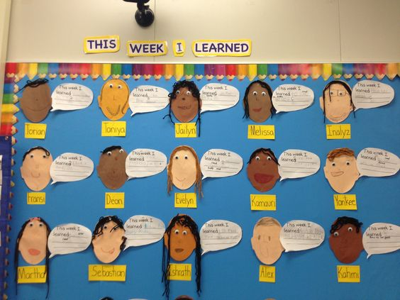 Every week the students write one thing that they learned.