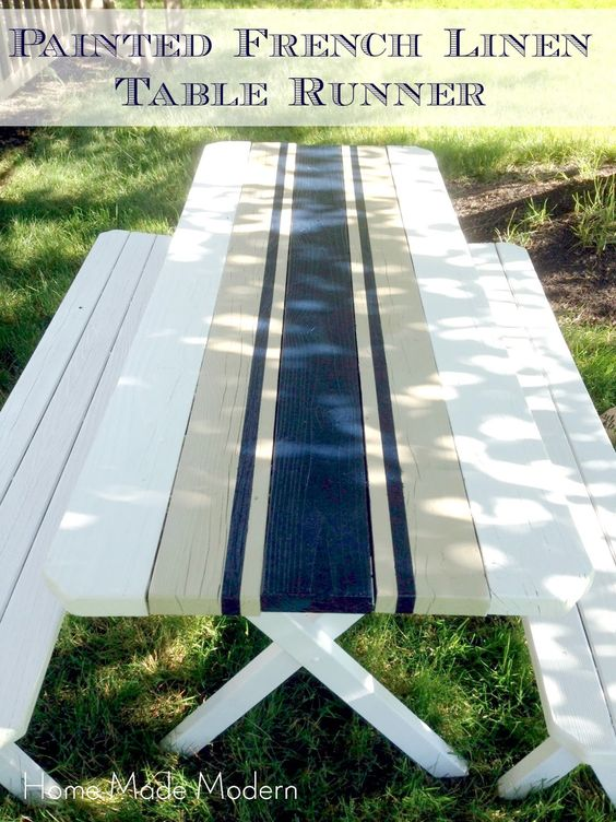 Re-vamp an old picnic table with a few French-country stripes...pretty