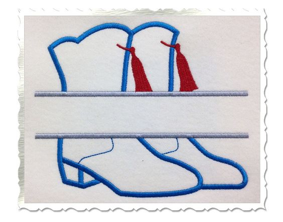 $2.95Applique Split Drill Team Boots Machine Embroidery Design