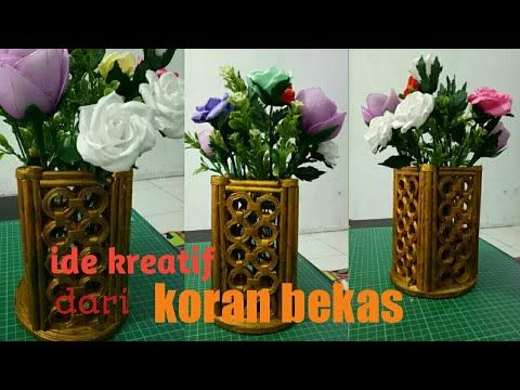 83 Old Newspaper Craft Idea I Vase Craft Idea I Cara Membuat Vas