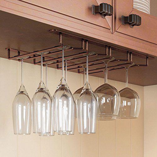 Under Cabinet Wine Glass Hanger Storage Rack Hook Stemware Bar Kitchen Organizer Hanging Wine Glass Rack Diy Wine Glass Rack Wine Glass Hanger