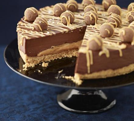 Salted caramel chocolate torte. Indulge guests at your next party with this impressive dessert. A touch of salt really sets off the caramel and dark chocolate