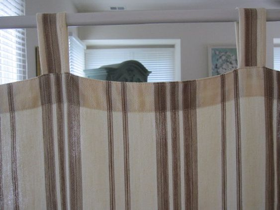 Curtains Ideas chocolate brown tab top curtains : Tab Top Curtain Multi Striped Cotton Tab Top by TheCottageWay ...