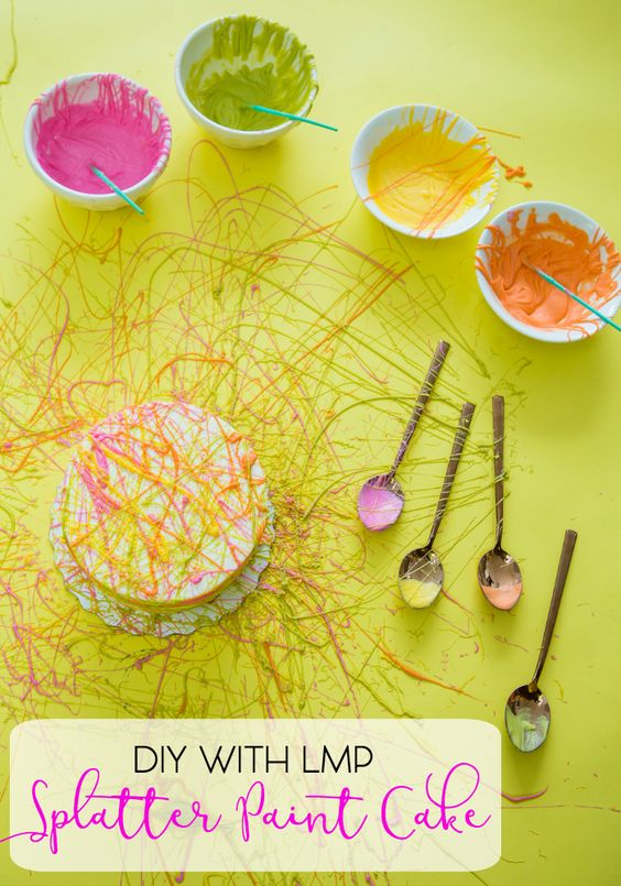 DIY with LMP: Make your own Splatter Paint Cake, the perfect way to decorate a plain store-bought cake for any party.  Check out how we did it!