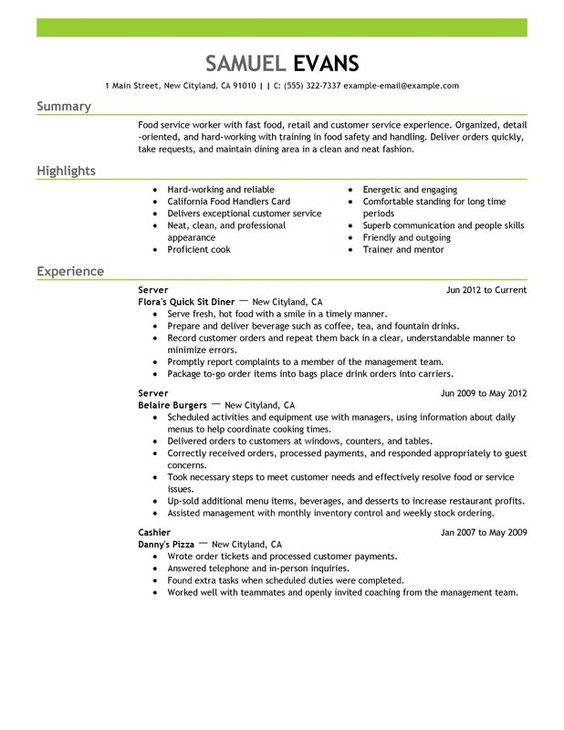 To be waitress is to be easy going and friendly In convincing the - sample food service resume