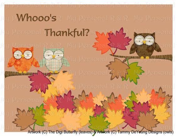 Whooo's Thankful Bulletin Board Set by MyPersonalRandR on Etsy, $15.00
