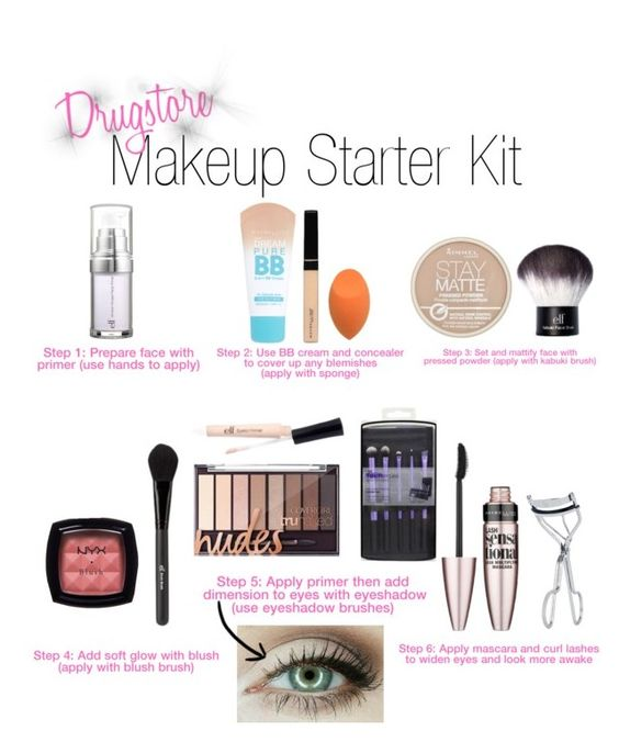 Drugstore Makeup Starter Kit by kate-peters22 on Polyvore featuring polyvore, beauty, Rimmel, NYX, Maybelline, e.l.f. and BBrowBar