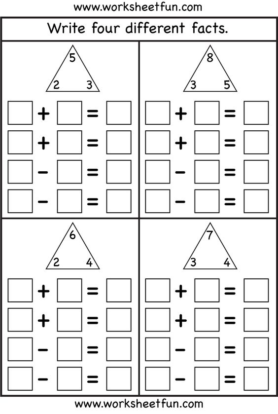 Worksheetfun Com First Grade : Fact families worksheets and facts on pinterest