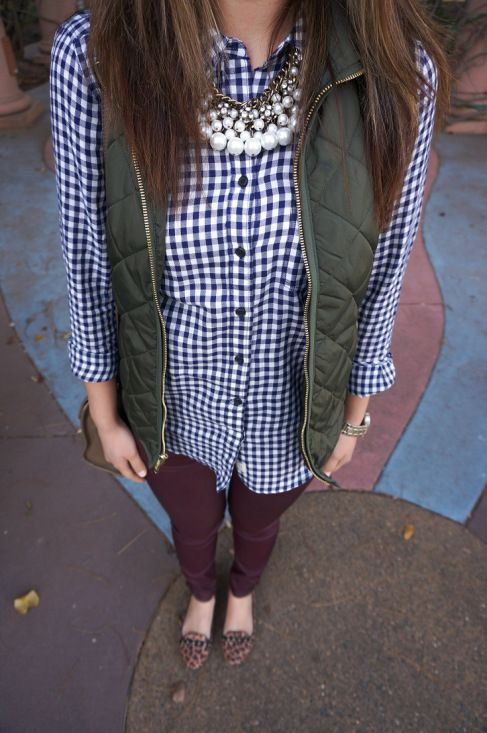 Not a fan of the textured vest over the loud gingham but the colors are great. Maybe with a pinstripe top instead.