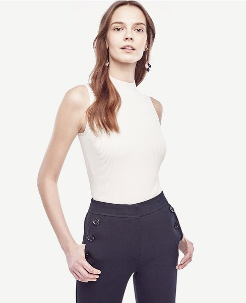 Primary Image of Ribbed Mock Neck Shell $60