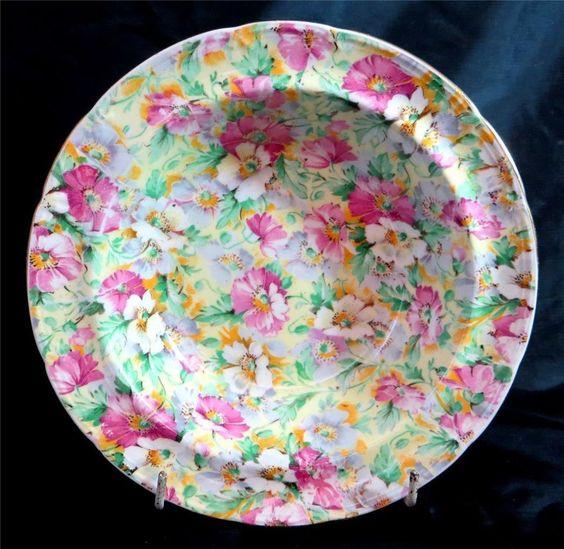 Art Deco Ridgway Summery Pink + Green Floral Chintz Set of 8 Dessert Bowls 1950s - ebay £24.95