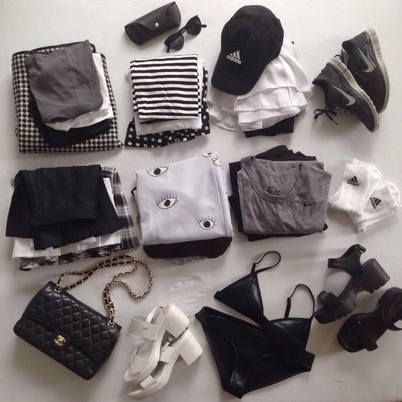 monochrome wardrobe - minus the platform sandals, I will never give in to that trend