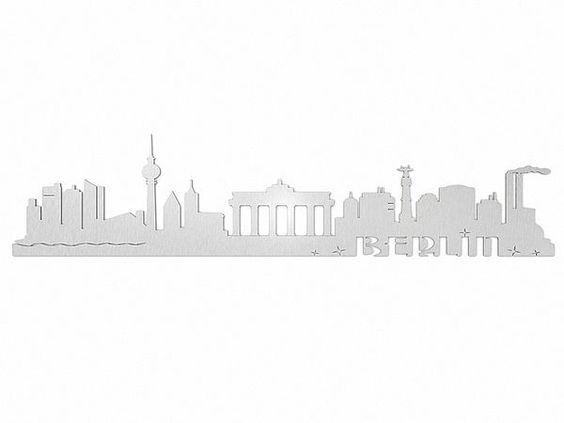 Skyline von Berlin - Edelstahlschild Typ 44 - Hausnummern, Türschilder, Firmenschilder, Straßenschilder, Parkplatzschilder und Kenzeichenhalter günstig im Schildershop24 kaufen