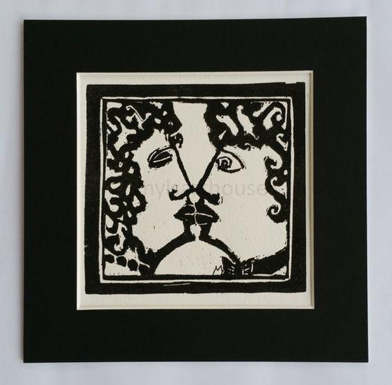 Kissinger curly peace original lino print fine art