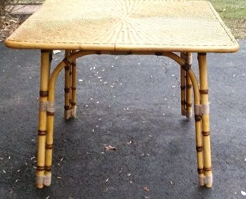An Original Calif Asia Rattan Table With Faux Bamboo Legs That I Made From  PVC Pipe. Original Legs Were Black Steel And Table Was Card Table Height.