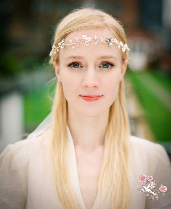 Bridal Headband/ Tiara Vintage Bridal by PeonyandMockingbird