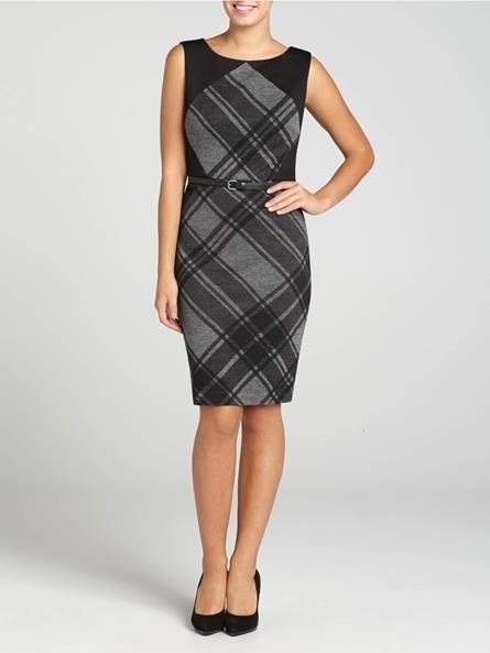 Laura. Sleeveless. Argyle pattern. Black yoke. Belt. Back zip with hook