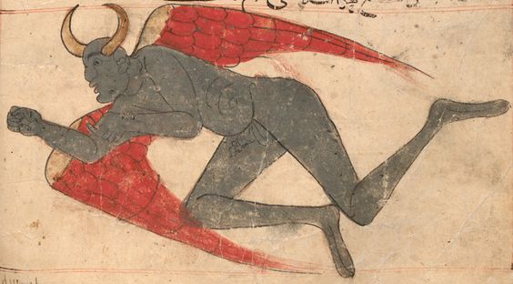 "humanoidhistory: "" A devilish, demonic figure illustrated in The Wonders of Creation, circa 1280, a medieval work by Persian scholar Zakariya al-Qazwini (1203-1283). (World Digital Library) """