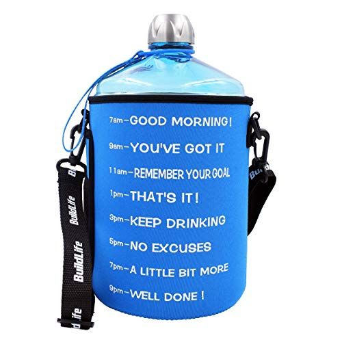 1 Gallon Water Bottle Motivational Fitness Workout With Time Marker And Sleeve Drink More Water Daily Clear B Fitness Bottle Gallon Water Bottle Water Bottle