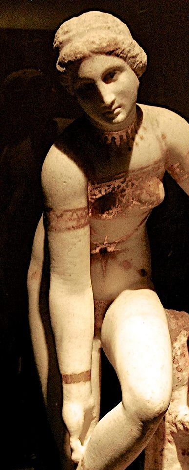"Detail of the well-known ""Venus in bikini"", as it has been called this statue, roman copy of a Hellenistic original, found in Pompeii, now in the Secret Cabinet in the Museo Archeologico (Naples)"