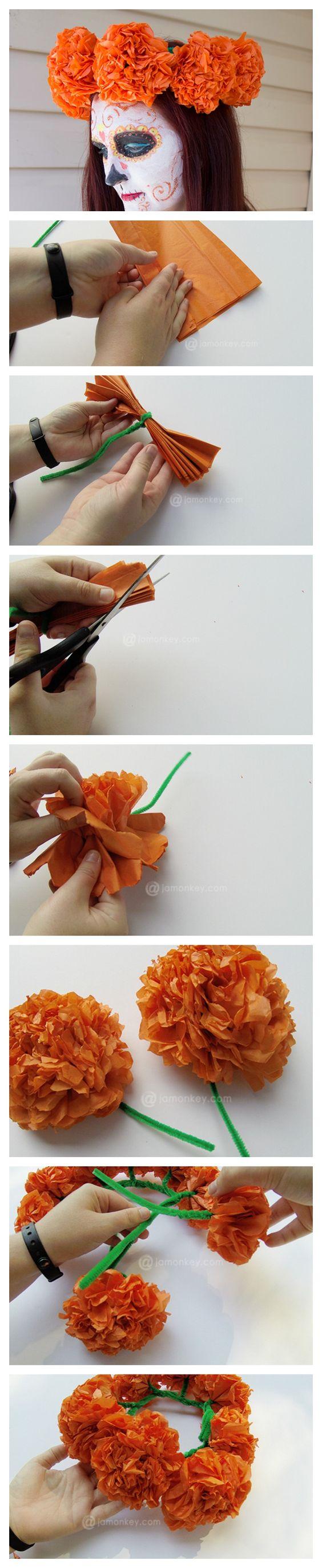 Corona de flores de papel para disfraz de Catrina