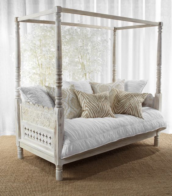 Our new white Pradesh Day Bed is a tranquil indoor oasis.