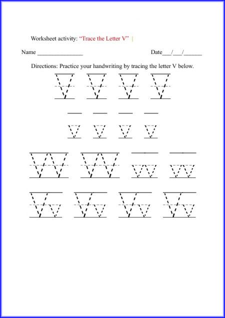 Letter V Alphabet Worksheets. The Letter V. Free Tracing Letter V ...