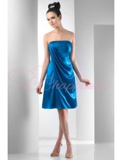 Strapless Charmeuse Short Dress With A Side Drape,Solid Only