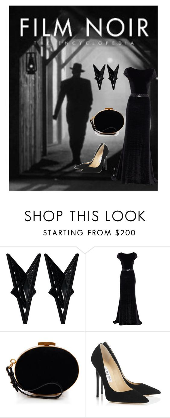 """Film Noir Mode 2"" by jostockton ❤ liked on Polyvore featuring Eddie Borgo, Linea, Nina Ricci and Jimmy Choo"