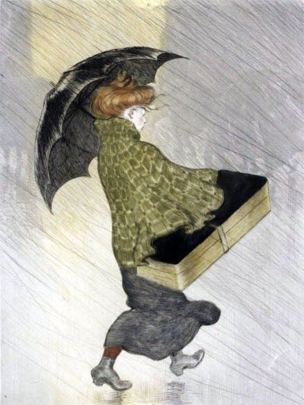 METEO DU JOUR  ...  Théophile Alexandre Steinlen (1859-1923)  : trottin sous la pluie