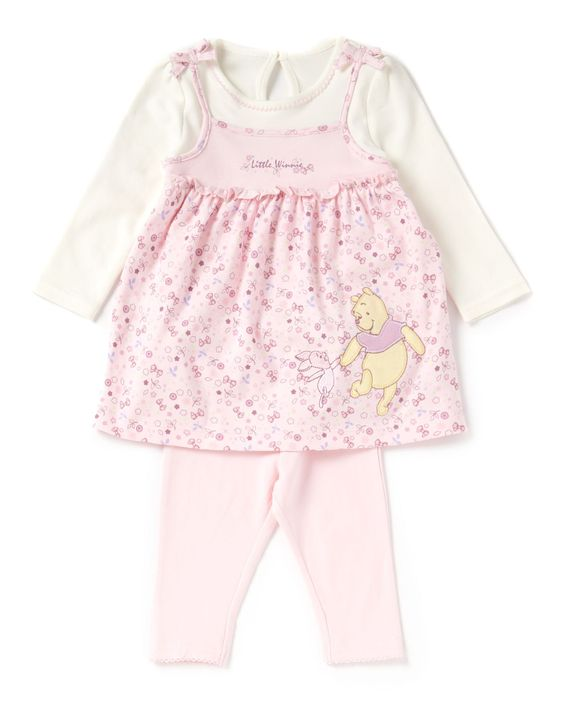 Baby Girl (M) Carter's® 2 piece set includes a floral print dress with a round neck, decorative buttons and long sleeves. Also features a pair of elastic waist leggings with a skinny leg.