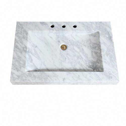 Avanity 33 Inch Stone Integrated Sink Top Carrera White Marble Sit33cw Marblebathroom In 2020 Bathroom Vanity Tops Sink Top Marble Bathroom Vanity