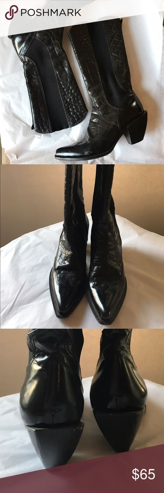 Donald Pliner Cowboy Boots Beautiful heeled cowboy boots in good pre-owned condition. Have a small nick in heel. Genuine leather, elastic sides, made in Italy. Size 6. Donald J. Pliner Shoes Heeled Boots