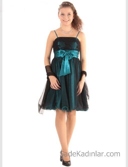 14 Yas Abiye Elbise Yesil Kisa Ip Askili Saten Kurdela Kemerli Elbise The Dress Kokteyl Elbisesi