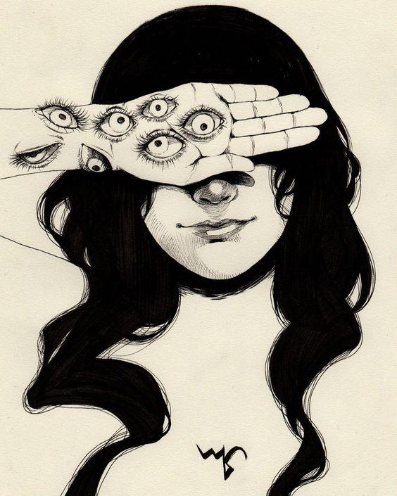 Garota com olhos nos braços.