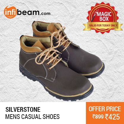 Silverstone Men's Casual Shoes at Lowest Rate from Infibeam's MagicBox !  Assuring Lowest Price in Magic Box Deals !   HURRY OFFER VALID FOR TODAY ONLY !!  #MagicBox #Deals #DealOfTheDay #Offer #Discount #LowestRates #Silverstone #CasualShoes #MensFootwear #Footwear #Shoes