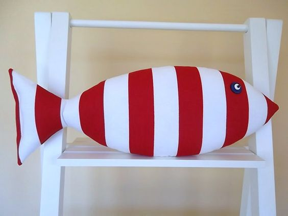 Fish Pillow Red and White Stripes Kids Decor by CatherinePicone, $21.00