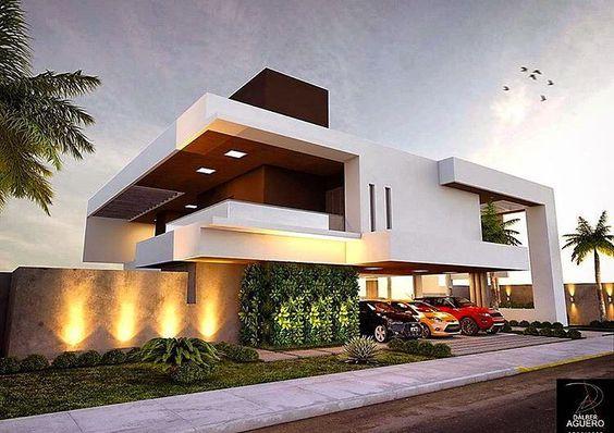Uma casa com fachada contemporânea que teve a sua beleza realçada pelo projeto luminotécnico e pelo belo paisagismo!  Projeto por @dalberaguero