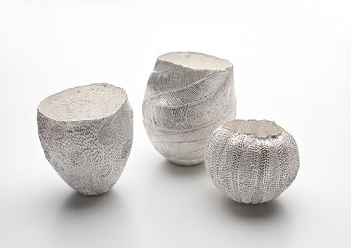 Julie Blyfield, vessels from the Scintilla series 2010, pure silver, Photographer Grant Hancock