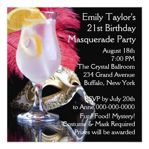 """Feather Mask 21st Birthday Party 5.25"""" Square Invitation Card"""