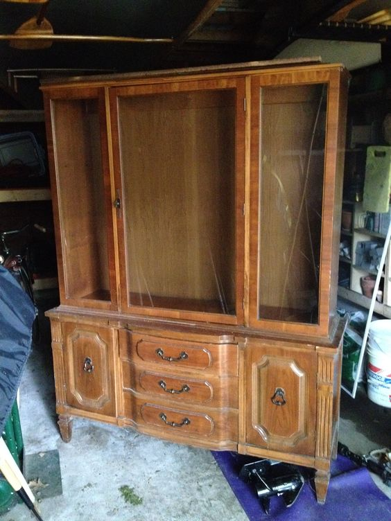 Antique china cabinet from Grandma - perfect for displaying the Manhattanware - needs a little facelift