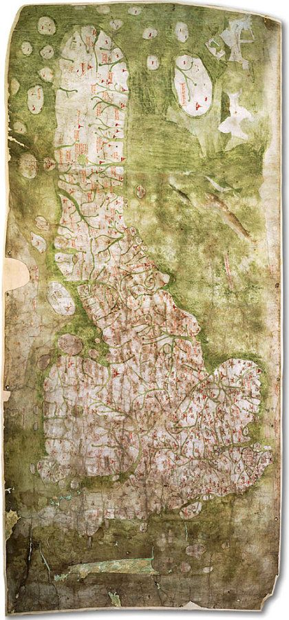 "Oldest Known Accurate Road Map Of Britain -- 1360 -- It's the Gough Map, held in the Bodleian and now available in digitized form. See this link for the announcement from Oxford http://www.ox.ac.uk/media/news_stories/2011/110208.html, or click the picture to go to the goughmap.org site and see the digitized version. Looks a bit like a lumpy ""meat and two veg"" as the Brits would say."